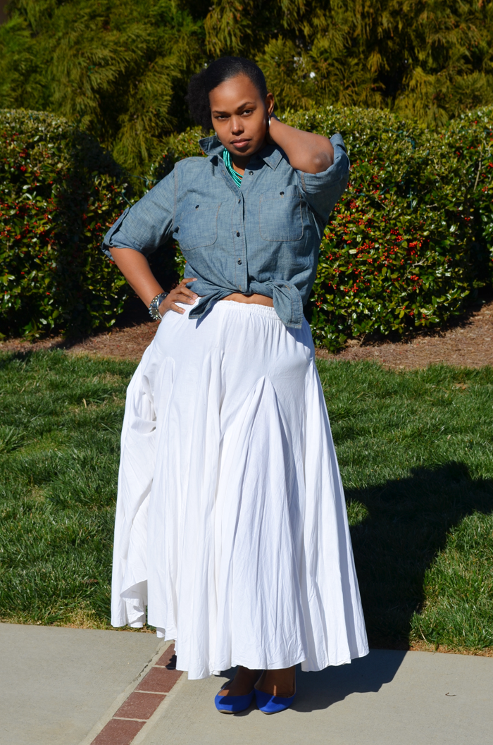 Long White Skirt Outfit - Skirts