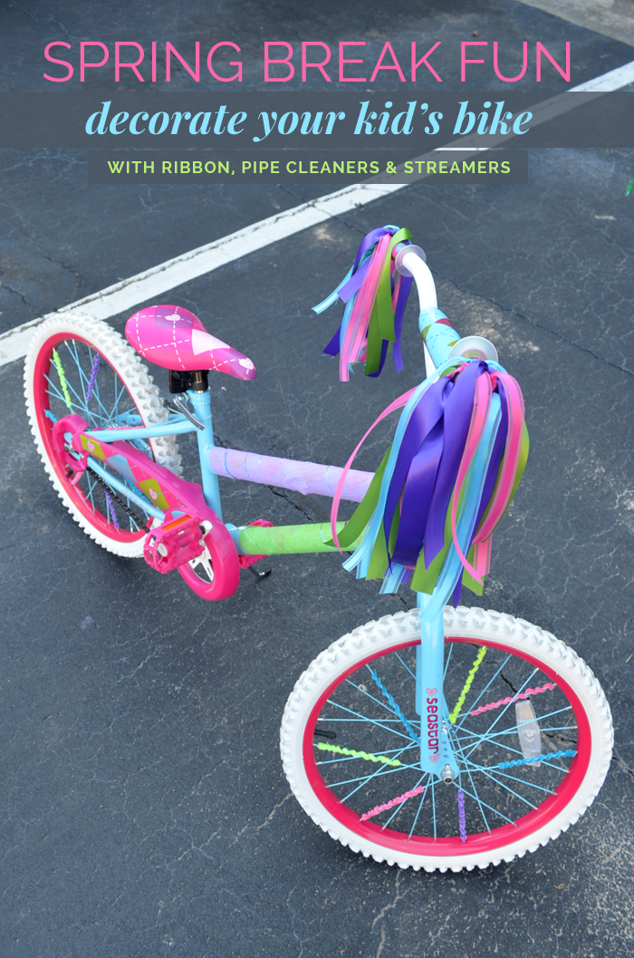 Decorating bike spokes with pipe cleaners (and other ideas to decorate your bike! Decorating bike spokes with pipe cleaners and putting a clothespin and a playing cardto make noise, and streamers and ribbons.