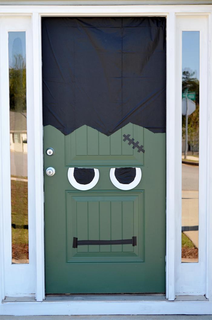 halloween diy frankenstein front door pumpkin. Black Bedroom Furniture Sets. Home Design Ideas