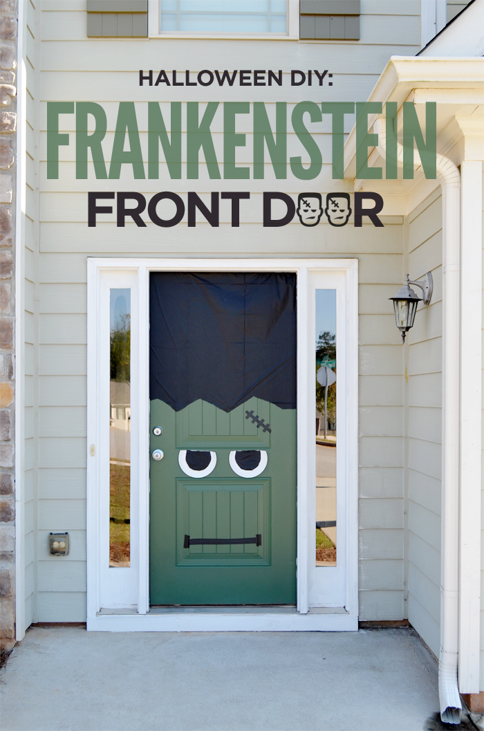 halloween-frankenstein-door11pin & Halloween DIY: Frankenstein Front Door u0026 Pumpkin pezcame.com
